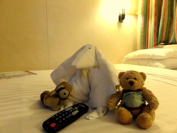 毎晩夕食中にベッドメイキングが入ってタオルで動物が作られている(2日目)